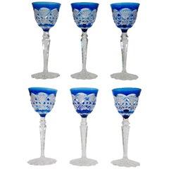 Set of Six Cobalt Blue Val Saint Lambert Glasses in Crystal Made in Belgium