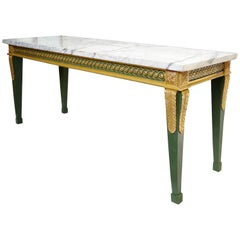 Louis XVI Style Console Table in Green Lacquered and Gilded Wood, 19th Century