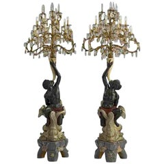 Set of Two 19th Century Antique Blackamoor Candelabra