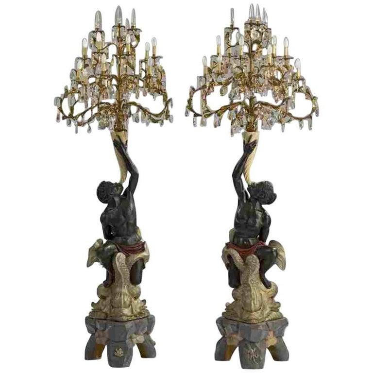 Set of Two 19th Century Antique Blackamoor Candelabra