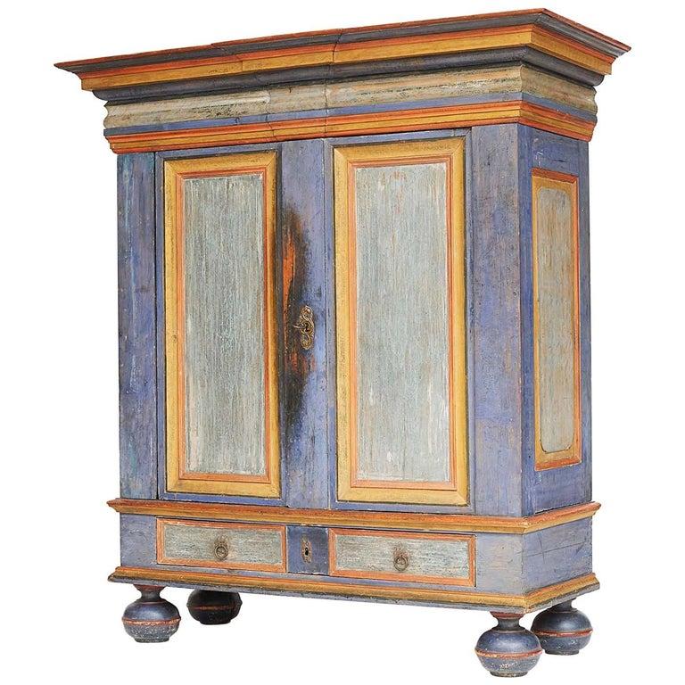 Danish Baroque Painted Cabinet, Mid-18th Century, Original Paint