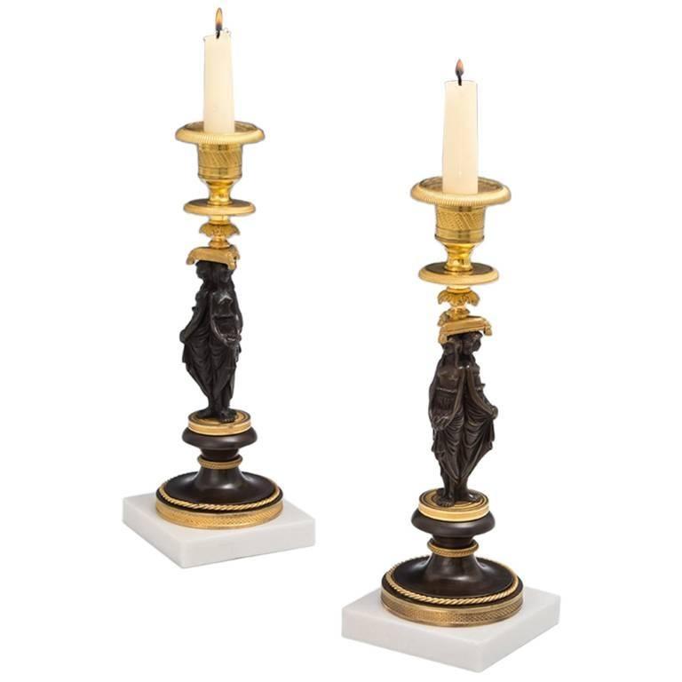 Fine Pair of Regency Ormolu and Bronze Figurine Candlesticks