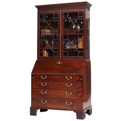 English George III Mahogany Bureau Bookcase, Late 18th Century
