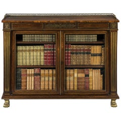 Early 19th Century Regency Period Rosewood and Brass Inlaid Dwarf Bookcase