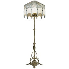 Victorian Period Extending Brass Oil Standard Lamp from the Aesthetic Movement