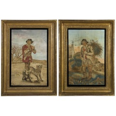 "Pair of Embroidery & Needlework Pictures of ""The Woodman and ""The Furze Cutter"""