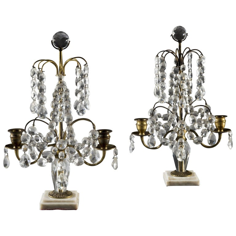 Pair of Victorian Cut-Glass Candelabra Candlesticks on Marble Bases