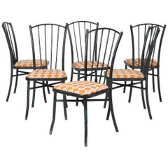 Set of Six Vintage French Metal Chairs
