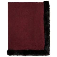 Verheyen London Burgundy Cashmere Black Mink Trimmed Shawl