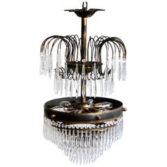 Early 20th Century Waterfall Chandelier Dressed in Glass Icicle Drops