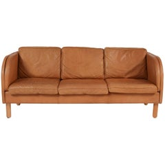 Vintage Tan Leather Sofa by Stouby