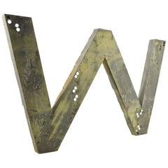 Huge Vintage Zinc Letter 'W' or 'M'
