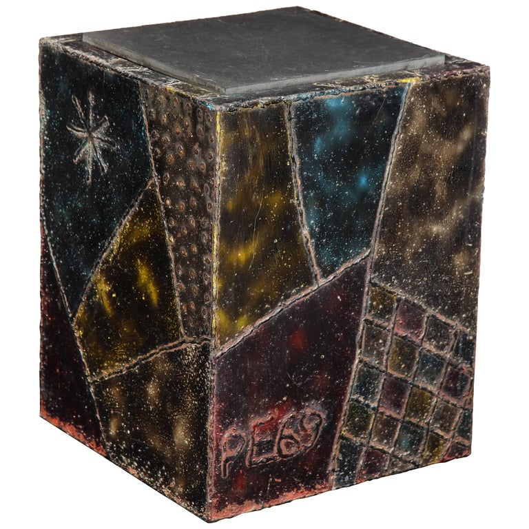 Paul Evans Side Table Sculpted Metal Cube Slate Steel Bronze Signed, USA, 1960s For Sale