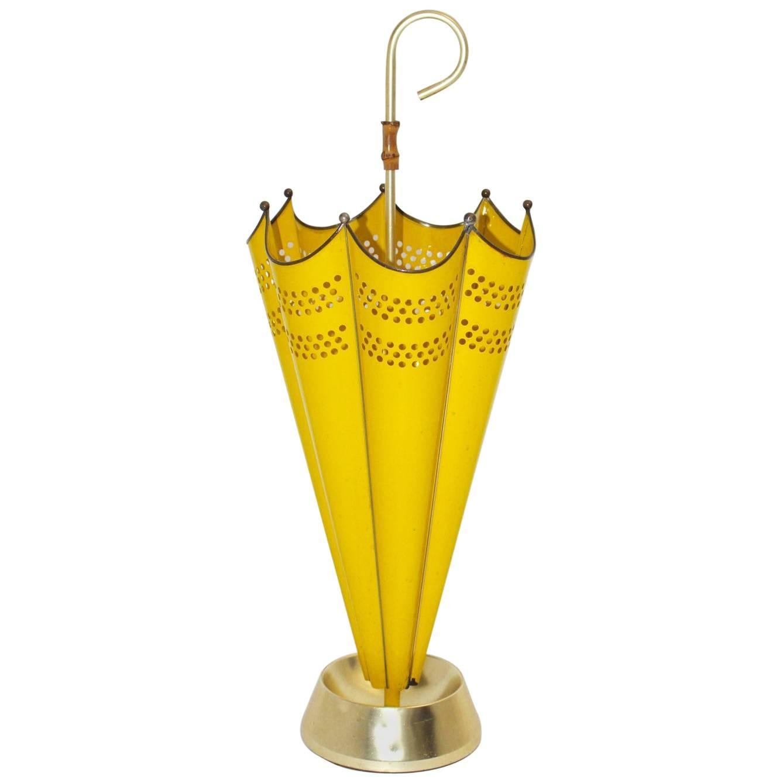 Mid Century Modern Vintage Yellow Umbrella Stand, 1950s, Italy