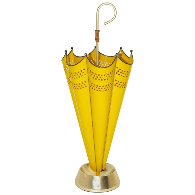 Mid Century Modern Yellow Umbrella Stand, 1950s, Italy For Sale