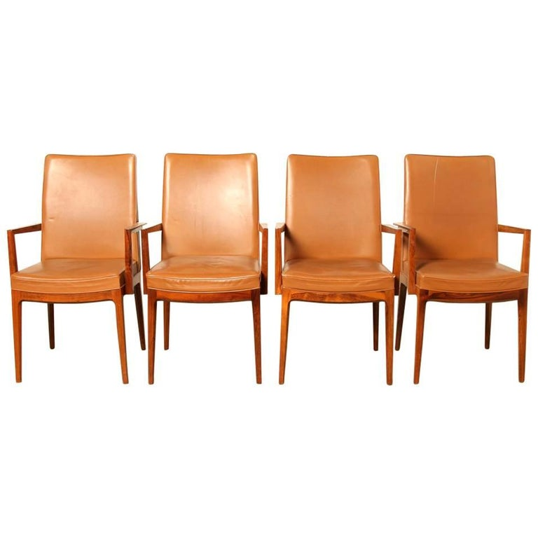 Casala Classic Modell in Leather and Rio-Rosewood, Set of Four