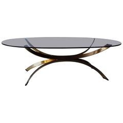 Chrome Coffee Table with Gold Finish in the Style of Maria Pergay, 1970s