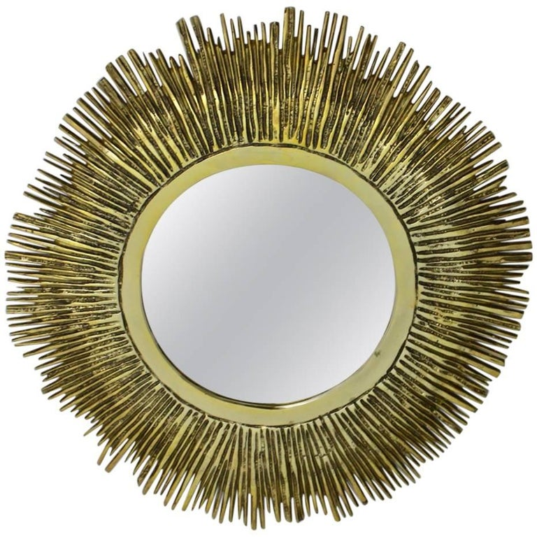Brass Sunburst Mirror France, 1960s For Sale