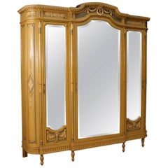 Italian Wardrobe in Lacquered Wood with Mirrors in Louis XVI Style, 20th Century