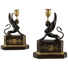 Early 19th Century Regency Period Bronze and Ormolu Griffins Candlesticks