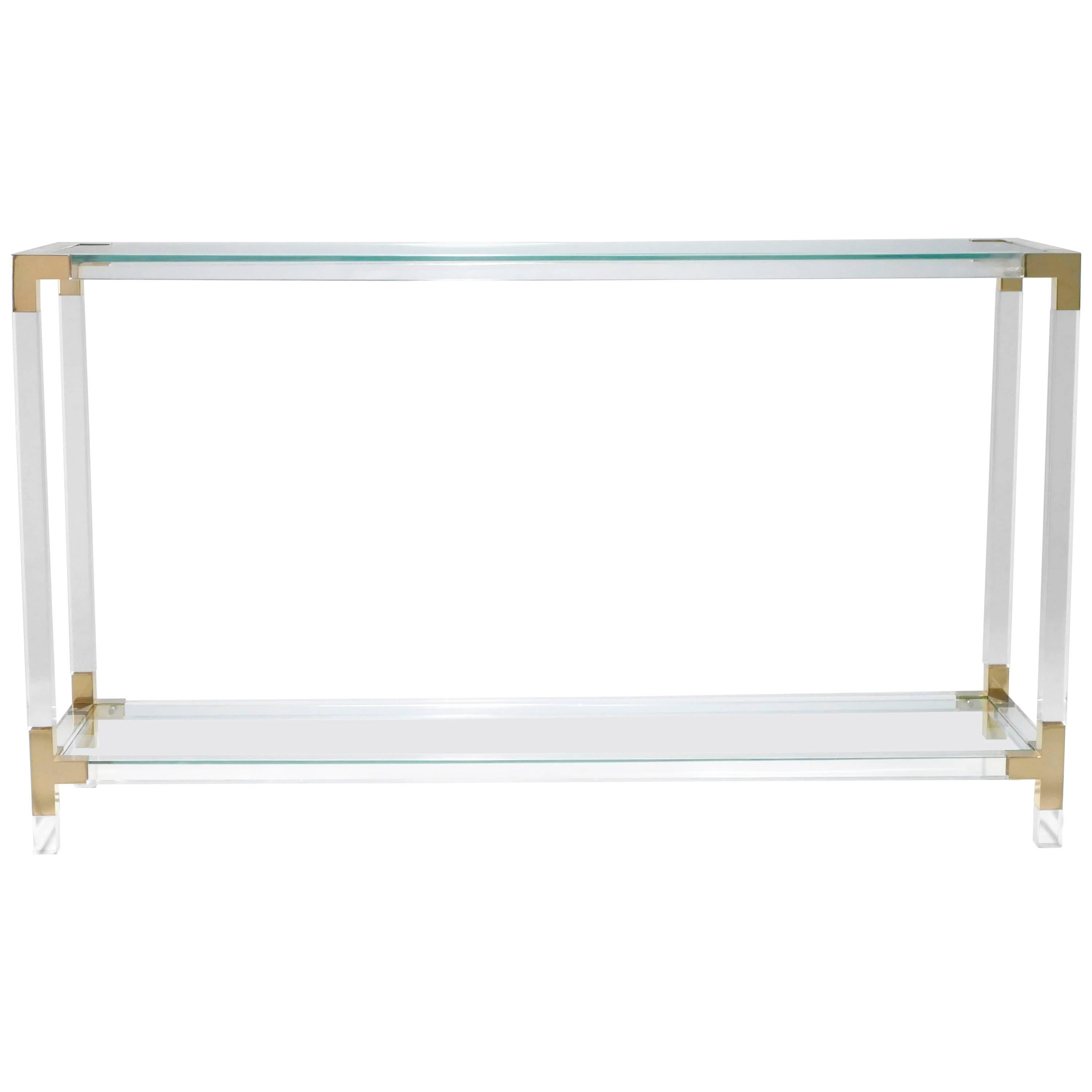 Console Plexiglass Elegant French Vintage S Black Lucite And  # Meuble Tv Plexiglas