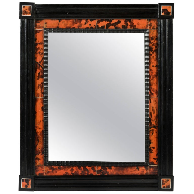 a0370cbc895 18th Century Period Anglo-Dutch Stained Red Tortoiseshell and Ebony Mirror  For Sale at 1stdibs
