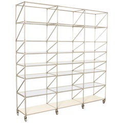 Regal Shelving Uint, Steel-Line by System 180, Wide with Glass Shelves