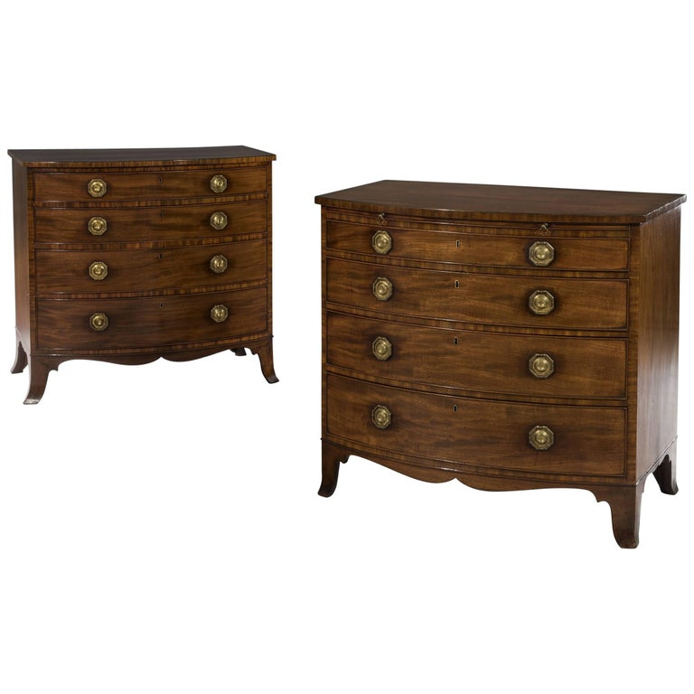 George III Period Pair of Identical 18th Century Mahogany Chests of Drawers For Sale