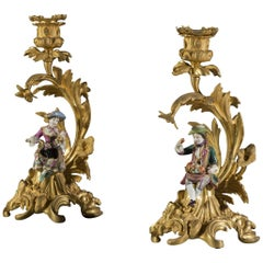Pair of 19th Century Minton Bone China and Gilt Metal Mounted Candlesticks