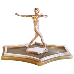 Art Deco Silvered Bronze Dancer