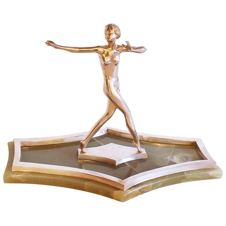 Art Deco Silvered Bronze Dancer For Sale