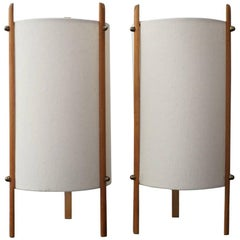 Pair of 1950s Japanese Tripod Cylinder Table Lamps