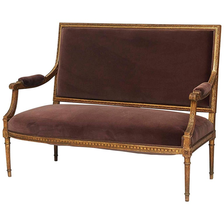 Louis XVI Style Giltwood Settee, Late 19th Century