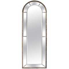 Cathedral Mirror with Silver Gilt Frame Made in Italy