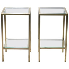 Pair of Brass Side Tables, 1970s