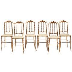 Set of Six 1970s Italian Brass Chiavari Chairs