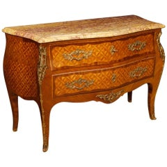 French Inlaid Dresser in Rosewood and Mahogany with Marble Top in Louis XV Style