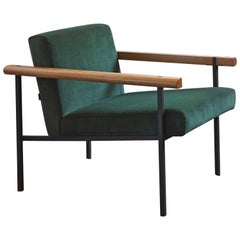 Vince Steel and Wood Frame Contemporary Armchair