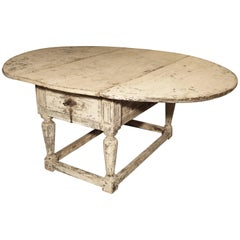 Painted Antique Drop-Leaf Oak Table from Italy, 17th Century