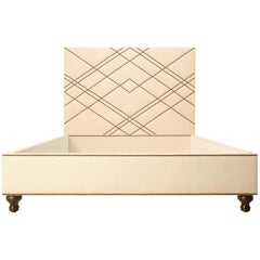 Custom Made Upholstered Bed with Bronze Nail Heads