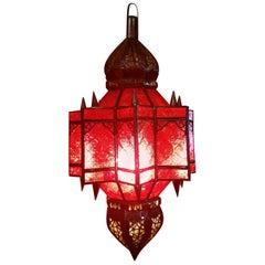 Moroccan Glass Lantern, Makki Style, Red Glass