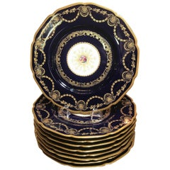 Sumptuous Set of Ten Cobalt and Gold Service Dinner Plates