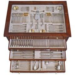 Silver 800 186-Piece Flatware Cutlery Set 12 Persons V.C.Dub Austria Vienna 1915