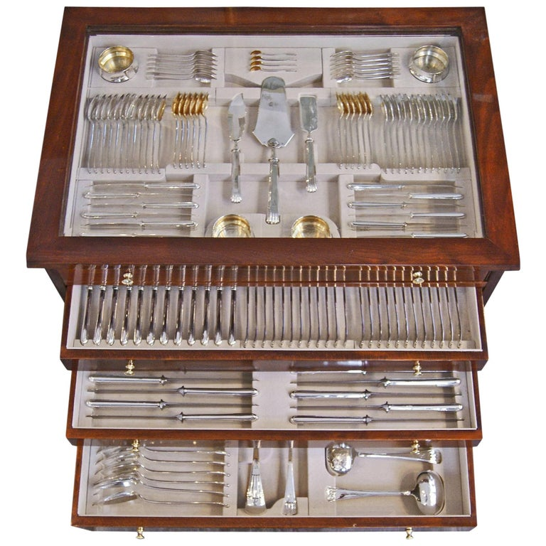 Silver 800 186-Piece Flatware Cutlery Set 12 Persons V.C.Dub Austria Vienna 1915 For Sale