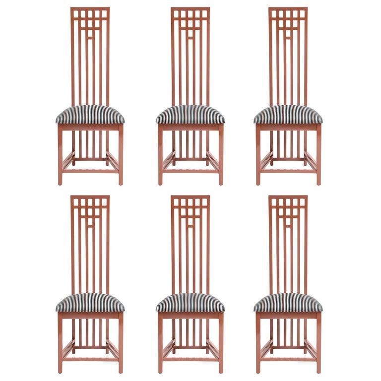 Charles Rennie Mackintosh Dining Chairs in Sonia Rykiel Fabric, Set of Six
