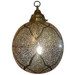 Moroccan Copper Wall or Ceiling Lamp or Lantern, Ball Shape