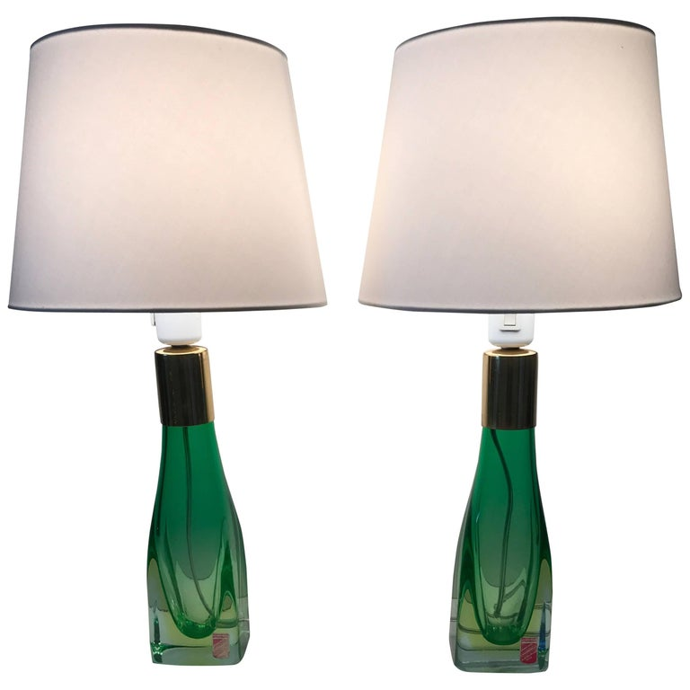 Pair of Italian Venetian Murano Art Glass Table Lamps 1958 Arte Nuova, Murano