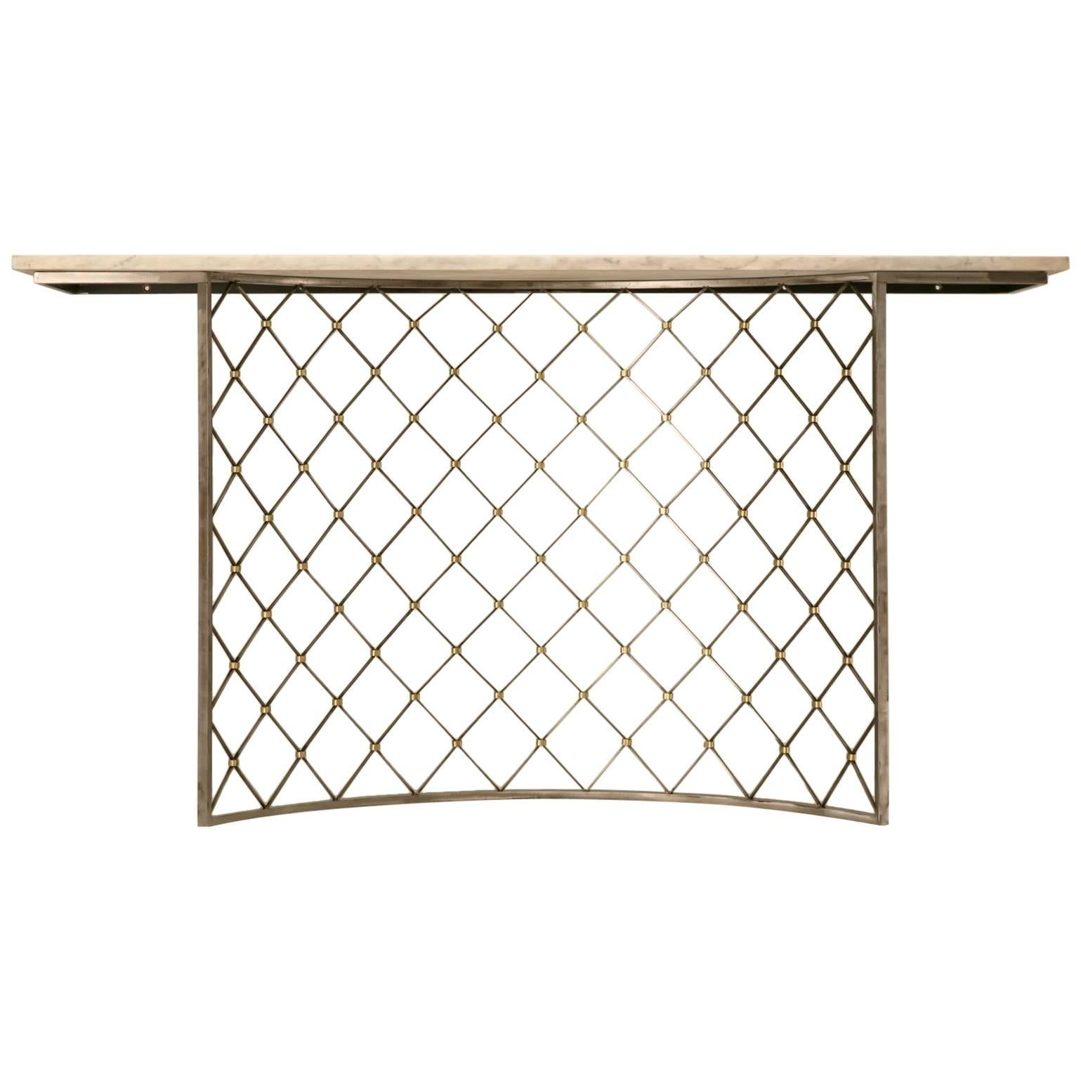 Steel Console Table Base with Brass Details from the Old Plank Collection