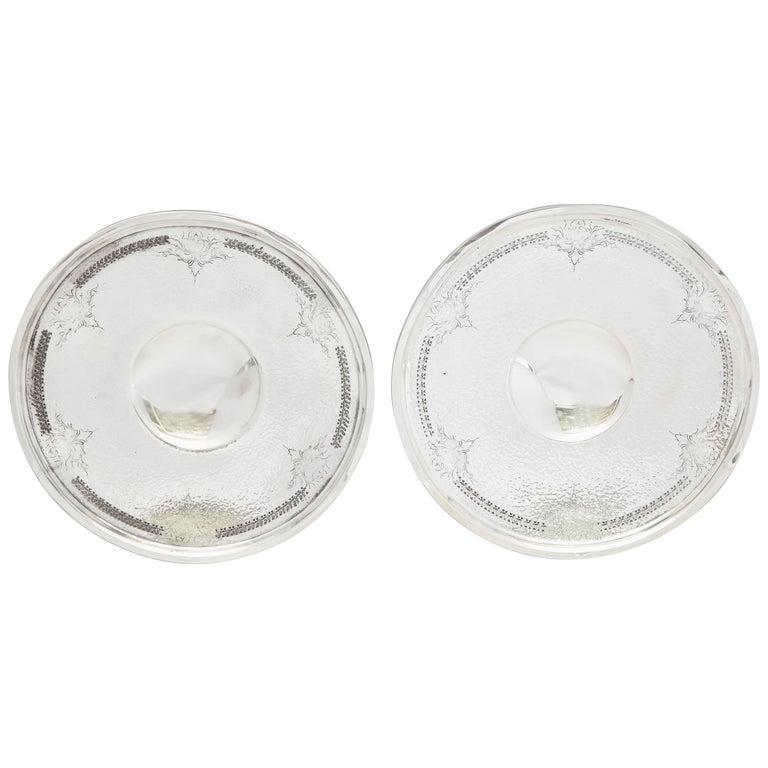 Pair of Art Deco Sterling Silver Hand-Hammered Pedestal Based Serving Platters
