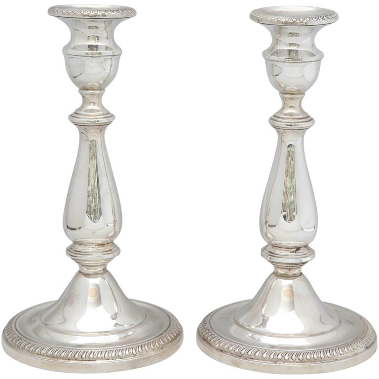 Pair of Tall Sterling Silver Empire-Style Candlesticks
